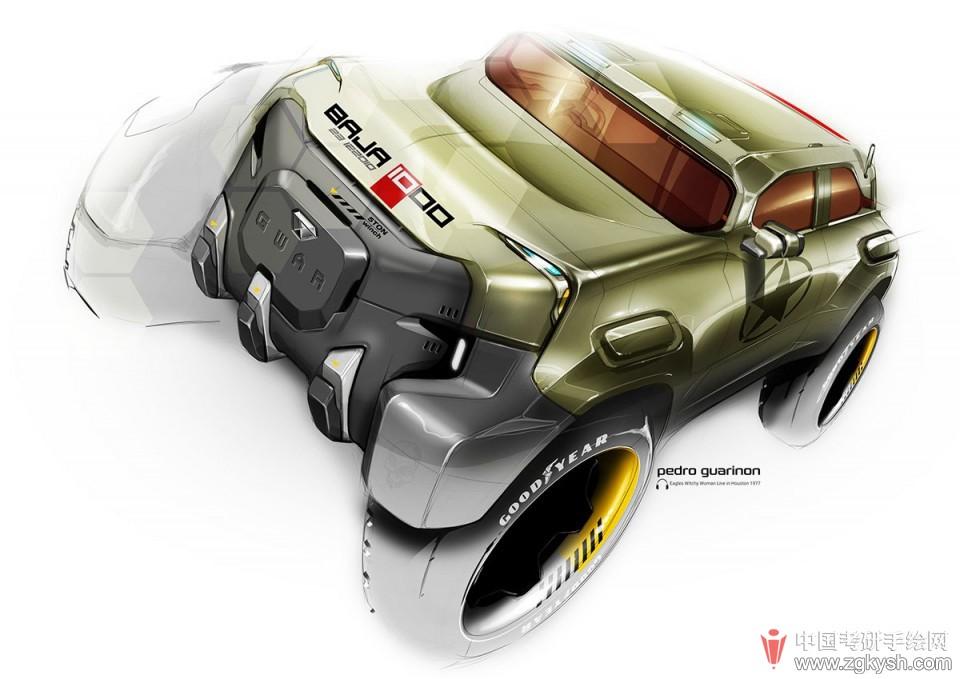多款工业设计汽车手绘稿详解图