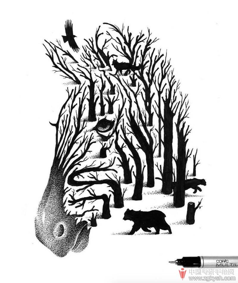 点画的动物插图 巴西插画师