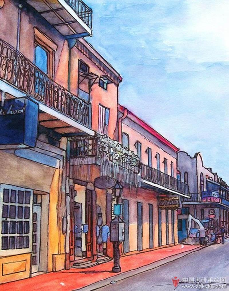 城市街道写生插画手绘手绘效果图 学习手绘zgkysh.com图片