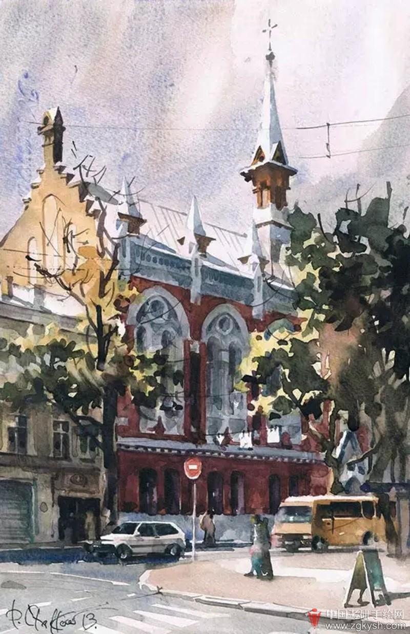 欧式建筑手绘素描,水彩 (2)