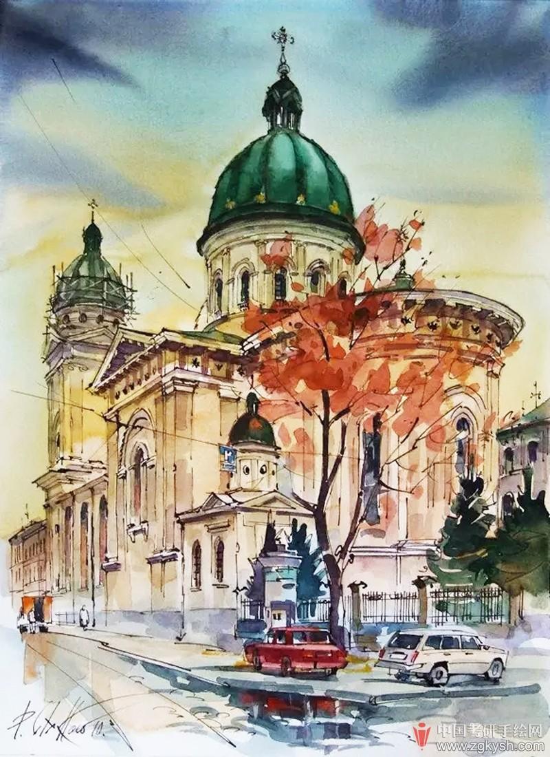 欧式建筑手绘素描,水彩