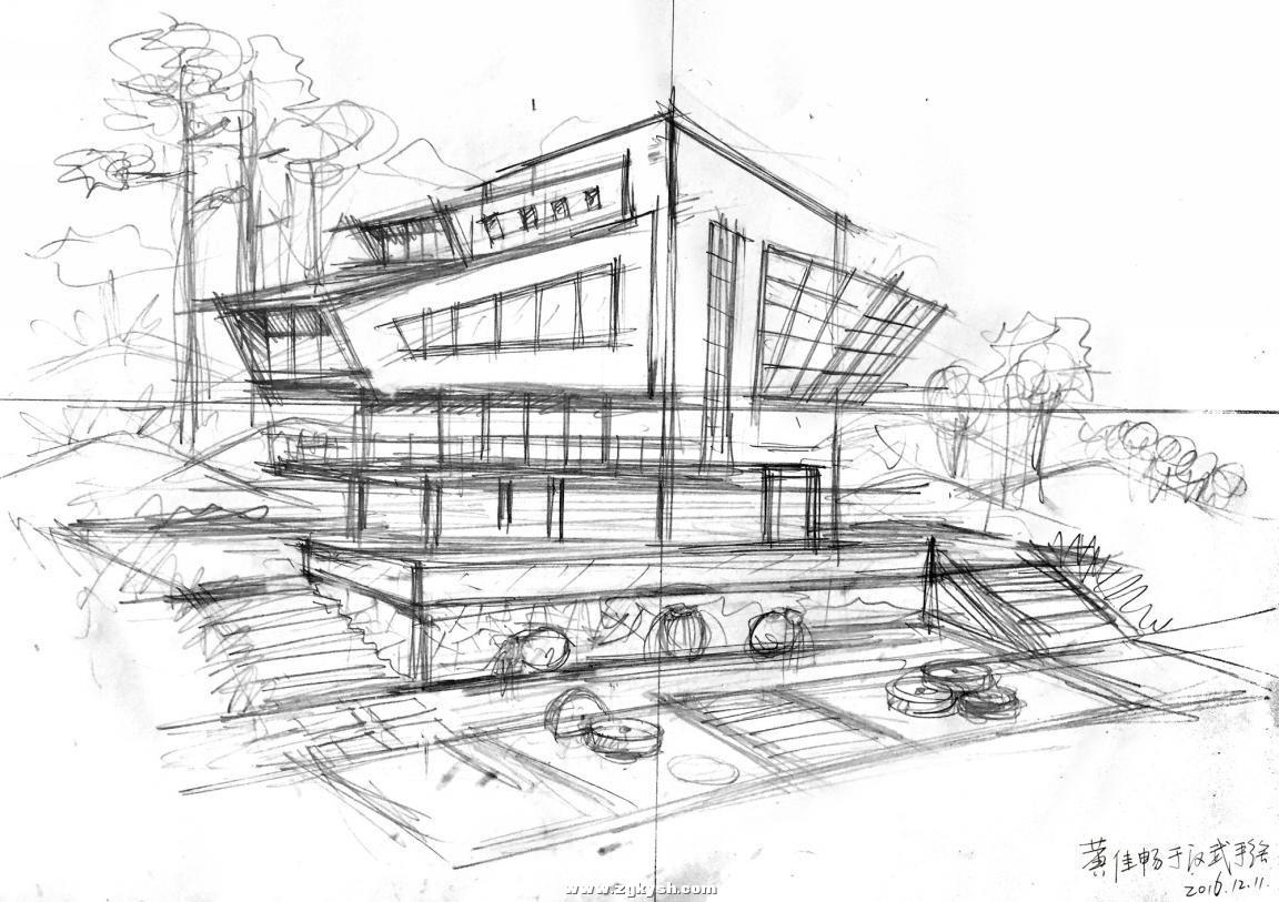 建筑景观马克笔上色步骤详解与案例——以学生训练稿为例 图片1.jpg