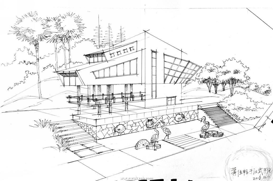 建筑景观马克笔上色步骤详解与案例——以学生训练稿为例 图片2.jpg