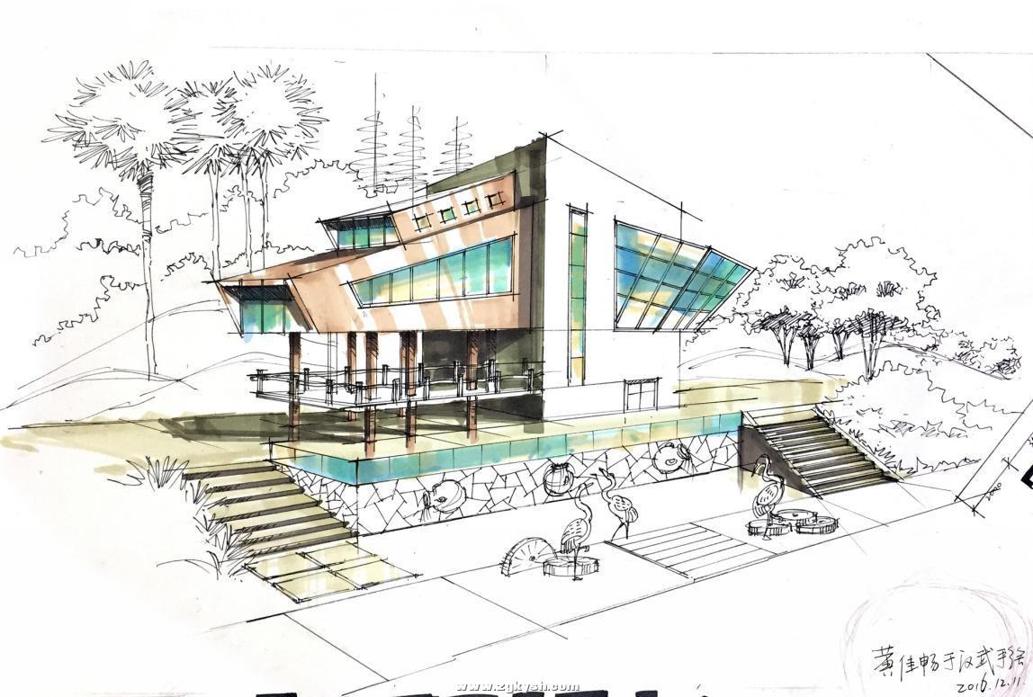 建筑景观马克笔上色步骤详解与案例——以学生训练稿为例 图片3.jpg