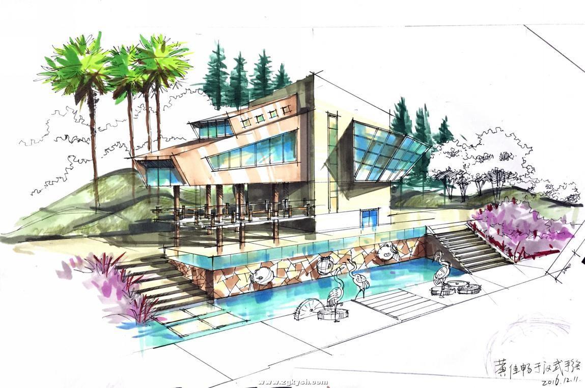 建筑景观马克笔上色步骤详解与案例——以学生训练稿为例 图片5.jpg