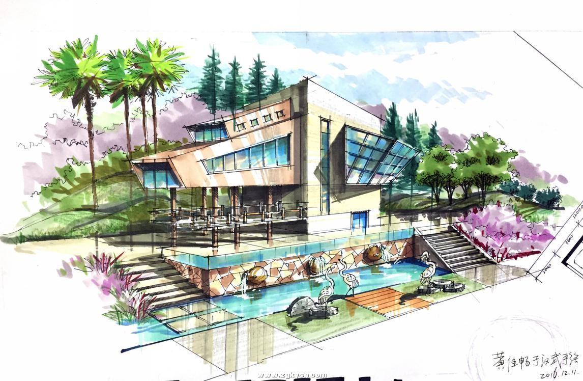 建筑景观马克笔上色步骤详解与案例——以学生训练稿为例 图片6.jpg