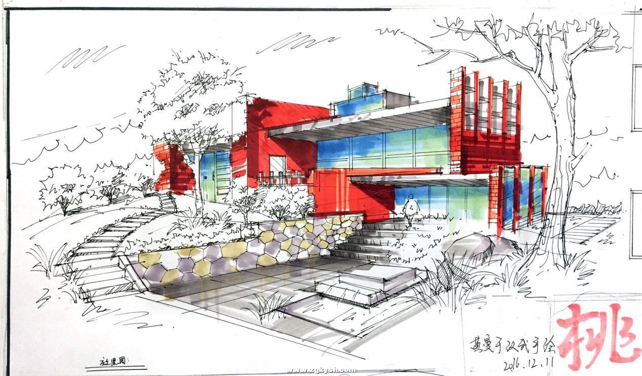 建筑景观马克笔上色步骤详解与案例——以学生训练稿为例
