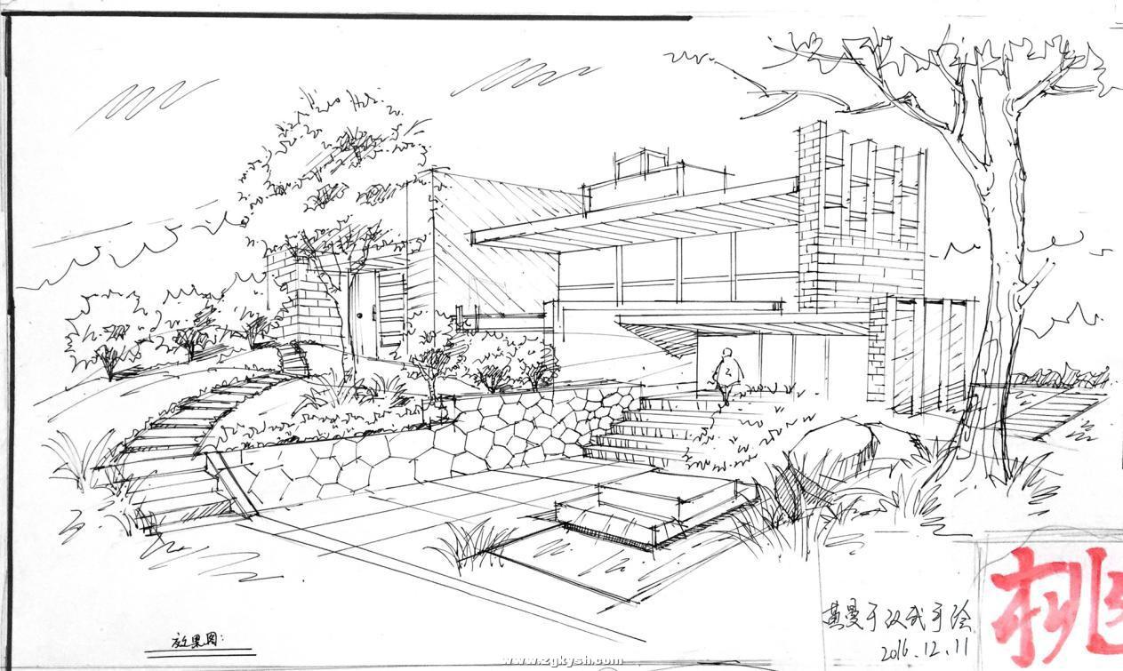 建筑景观马克笔上色步骤详解与案例——以学生训练稿为例 图片7.jpg