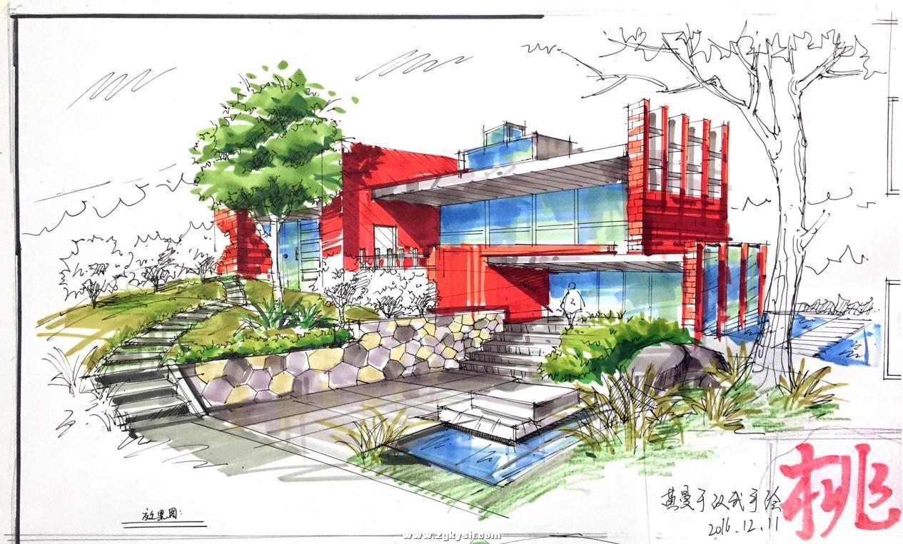 建筑景观马克笔上色步骤详解与案例——以学生训练稿为例 图片9.jpg