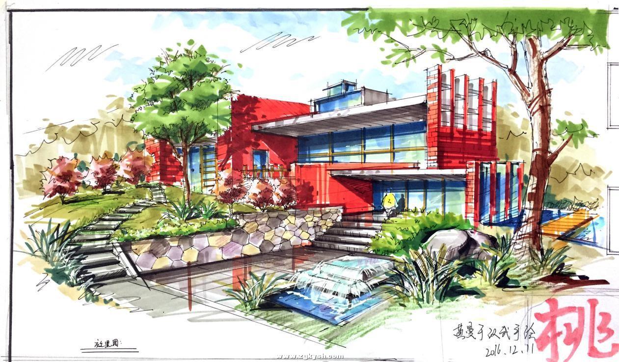 建筑景观马克笔上色步骤详解与案例——以学生训练稿为例 图片10.jpg