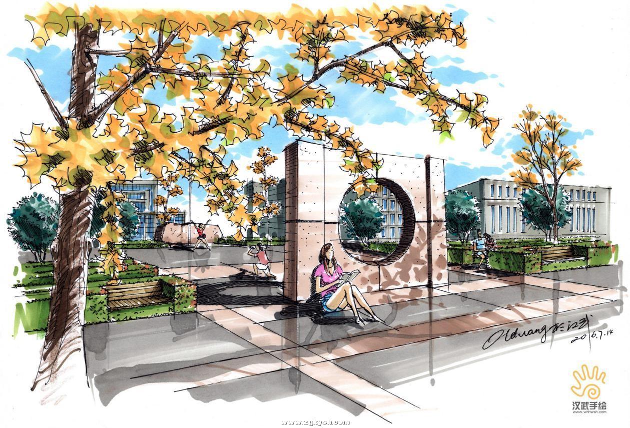 建筑景观马克笔上色步骤详解与案例——以学生训练稿为例 图片14.jpg